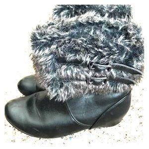 Charming Charlie Black Fur Booties
